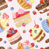 Watercolor sweet cakes seamless pattern with berries. Watercolor sweet cakes and cupcakes,berries seamless pattern. Vintage cute wallpaper,fabric backdrop Royalty Free Stock Photo