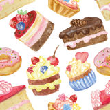 Watercolor sweet cakes seamless pattern Stock Image