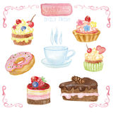 Watercolor sweet cakes set with cap Royalty Free Stock Photos