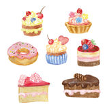 Watercolor sweet cakes set Royalty Free Stock Image