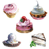 Watercolor sweet cakes Stock Photo