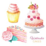 Watercolor sweet cakes Royalty Free Stock Image