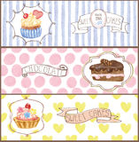 Watercolor sweet cakes tags, labels ,banners set Stock Photos
