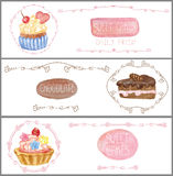 Watercolor sweet cakes tags labels .Banners set Stock Images