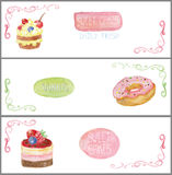 Watercolor sweet cakes tags labels .Banners set Royalty Free Stock Photography