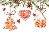 Watercolor sweet Christmas gingerbread cookies. Fir branches, New Year decoration, Holiday design elements, Greeting isolated festive New Year card Royalty Free Stock Image