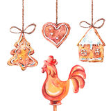 Watercolor sweet Christmas gingerbread cookies. Rooster lollipop, New Year decoration, Holiday design elements, Greeting isolated festive New Year card Stock Photography