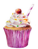 Watercolor sweet cupcake Stock Photos