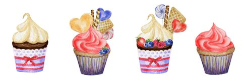 Watercolor Sweet deserts set with Cream and biscuit, waffle, cake, cupcake, berries. Hand drawn delicious food