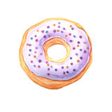 Watercolor sweet glazed donut. Watercolor hand painted sweet and tasty donut glazed with cream and sprinkling confectionery.  Delicious dessert can be used for Stock Photos