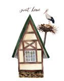 Watercolor sweet happy home with white stork and nest illustration.  Stock Photos