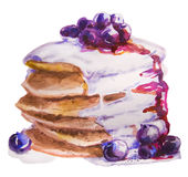 Watercolor sweet pancakes Royalty Free Stock Photography