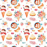 Watercolor sweets background Stock Photo