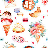 Watercolor sweets collection royalty free illustration