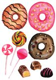 Watercolor sweets isolated clipart on white background. Donuts, lollipop, chocolate pralines. Watercolor sweets illustration with donuts, lollipops, and vector illustration