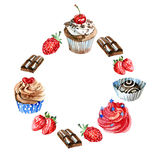 Watercolor sweets label. Card background with hand drawn food objects: cupcakes, chocolate, berry. Party time frame Royalty Free Stock Photos
