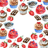 Watercolor sweets label. Card background with hand drawn food objects: cupcakes, chocolate, berry. Party time frame Stock Photos