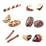 Watercolor sweets set Royalty Free Stock Photos