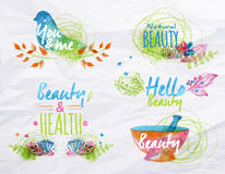 Watercolor symbols beauty Stock Photography