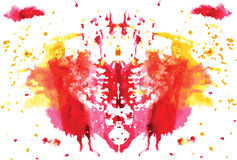 Watercolor symmetrical Rorschach blot Stock Image