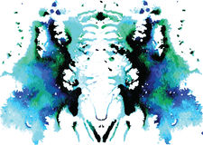Watercolor symmetrical Rorschach blot Royalty Free Stock Photography