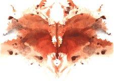 Watercolor symmetrical Rorschach blot Royalty Free Stock Photo