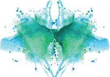 watercolor symmetrical Rorschach blot stock illustration