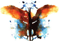 Watercolor symmetrical Rorschach blot. On a white background stock illustration