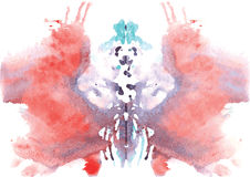 Watercolor symmetrical Rorschach blot Stock Photo
