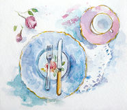 Watercolor table setting Royalty Free Stock Images
