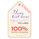 Watercolor tags label. Vector illustration. Stock Photos