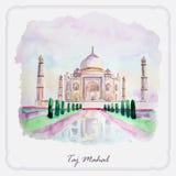 Watercolor Taj Mahal picture. Greeting card Royalty Free Stock Photo
