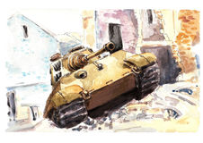 Watercolor tank. King tiger Stock Images