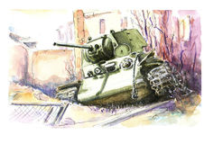 Watercolor tank. KV1 Royalty Free Stock Images