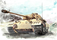 Watercolor tank, Pantera Stock Photos