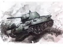 Watercolor tank. T-34 Royalty Free Stock Photography