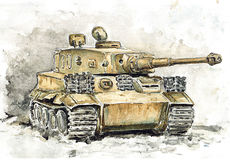 Watercolor tank. Tiger. German heavy tank of the second world war Royalty Free Stock Image