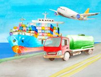Watercolor tank truck cistern standing on the shore on the road near the blue cargo container ship on water ready to carry freight. Watercolor tank truck cistern vector illustration