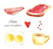 Watercolor tasty breakfast food Royalty Free Stock Photos