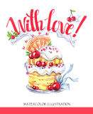 Watercolor tasty dessert. Congratulation card with pleasant words. Original hand drawn illustration. Sweet food. Holiday Royalty Free Stock Image