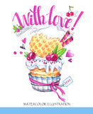 Watercolor tasty dessert. Congratulation card with pleasant words. Original hand drawn illustration. Sweet food. Holiday. Watercolor tasty dessert Royalty Free Stock Photography