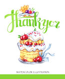 Watercolor tasty dessert. Congratulation card with pleasant words. Original hand drawn illustration. Sweet food. Holiday Royalty Free Stock Images