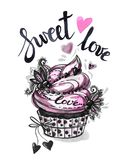 Watercolor tasty dessert. Congratulation card with pleasant words. Original hand drawn illustration. Sweet food. Holiday vector illustration