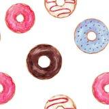 Watercolor tasty donuts pattern. Beautiful seamless pattern with watercolor hand drawn tasty donuts stock illustration