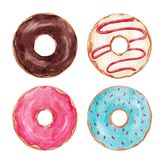 Watercolor tasty donuts set Stock Image