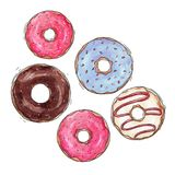 Watercolor tasty donuts set Royalty Free Stock Photography