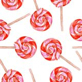 Watercolor tasty lolipop in vintage style Stock Photos