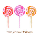 Watercolor tasty lollipop in vintage style Royalty Free Stock Photography