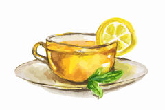 Watercolor tea cup. Watercolor tea cup with lemon slice and mint. Natural herbal tea. English tradition Royalty Free Stock Photography