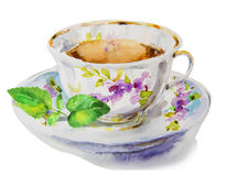 Watercolor tea cup with mint Royalty Free Stock Images